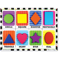 Melissa & Doug Puzzle lemn in relief Forme geometrice - 8 piese