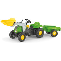 Rolly Toys Tractor excavator cu pedale si remorca copii verde