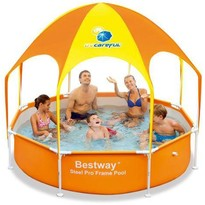 Bestway Piscina Steel Pro cu Acoperis UV Careful 40+ UPF
