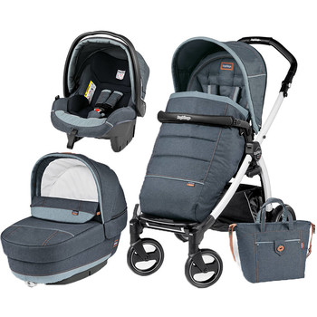 Peg Perego Carucior 3 In 1 Book Plus S, Black and White, Completo Elite