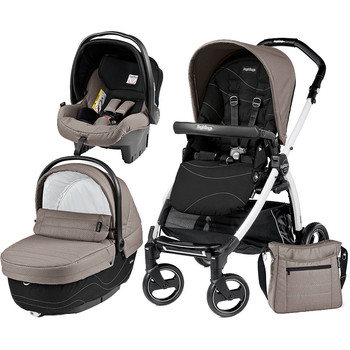 Peg Perego Carucior 3 in 1 Book Plus S, Black and White, Sportivo Bloom