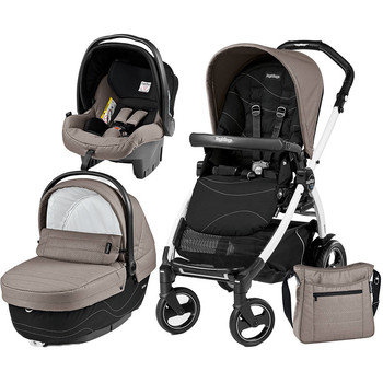 Peg Perego Carucior 3 in 1 Book Plus 51 S, Black and White, Sportivo Bloom