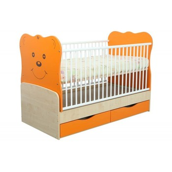 MyKids Patut transformabil cu leganare, Teddy Natur-Orange