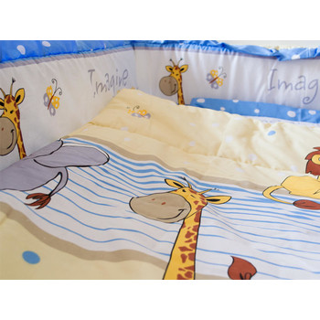 MyKids Lenjerie Imagine Safari Blue 4+1 Piese 120 cm x 60 cm