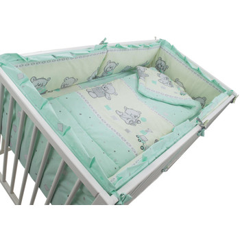 MyKids Lenjerie Teddy Toys Turquoise 4+1 Piese M1 120 cm x 60 cm