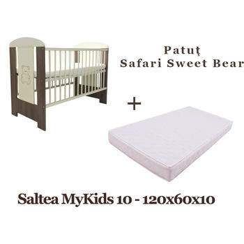 Klups Patut copii Safari Sweet Bear + Saltea MyKids 10