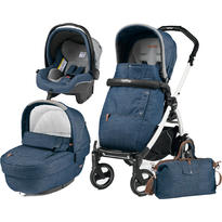 Peg Perego Carucior 3 In 1 Book Plus 51 S, Black and White, Completo Elite Urban Denim