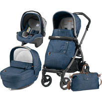Peg Perego Carucior 3 In 1 Book Plus S Black, Completo Elite, Urban Denim