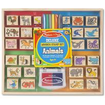 Melissa & Doug Set stampile din lemn Animale Deluxe