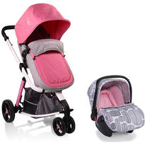 Carucior Copii 3 in 1 Sarah Grey and Pink