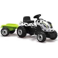 Smoby Tractor cu pedale si remorca moby Farmer XL alb negru
