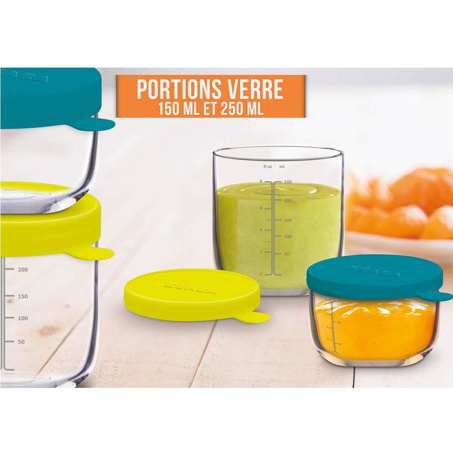 Set 2 recipiente ermetice sticla: 150 ml bleu si 250 ml neon