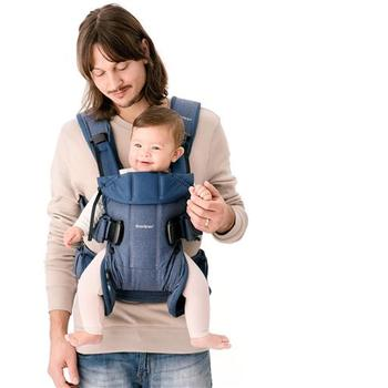 BabyBjorn Marsupiu anatomic One cu pozitii multiple de purtare, Denim Midnight Blue, Bumbac