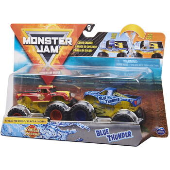 Spin Master Monster Jam Set 2 Masinute Radical Rescue Si Blue Thunder Color Change