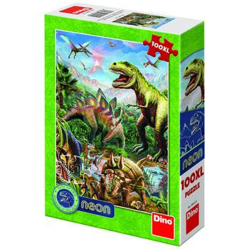 Dino Toys Puzzle XL - Lumea dinozaurilor neon (100 piese)