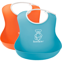 Set 2 bavete Soft Bib Orange/Turquoise