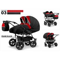 Carucior gemeni DUET LUX D-03 3 in 1 - Black/Red