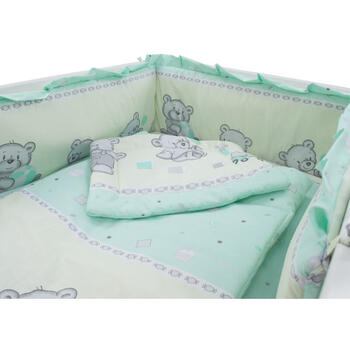 Lenjerie MyKids Teddy Toys Turquoise 4 Piese M1 120 cm x 60 cm