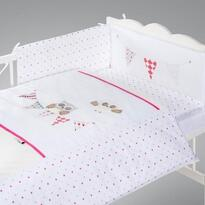 Klups Set lenjerie brodata 5 piese - Night Birds, pink