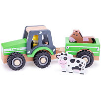 New Classic Toys Tractor cu trailer - animale