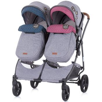 Carucior gemeni Chipolino Duo Smart boy girl linen