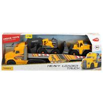 Dickie Toys Camion Mack Volvo Heavy Loader Truck cu remorca, buldozer si camion basculant