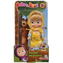 Papusa Masha and the Bear 12 cm, Masha in rochie galbena