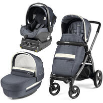 Carucior 3 In 1, Peg Perego, Book Plus S, Titania, baza i-Size inclusa, Luxe Mirage