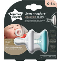 Suzeta Tommee Tippee Closer to Nature, 0-6 luni, Alb/Verde 2 buc