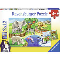 Ravensburger Puzzle Zoo, 2x12 Piese