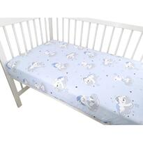 Qmini - Cearceaf cu elastic 120 cm x 60 cm Teddy Bears On Clouds Blue