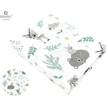 MimiNu - Cearceaf cu elastic, 120 cm x 60 cm, Forest friends Grey/Mint