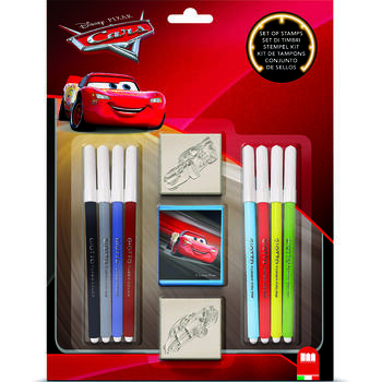 Set pictura 11 piese, 2 stampile, tus si 8 carioci Cars Multiprint MP26823